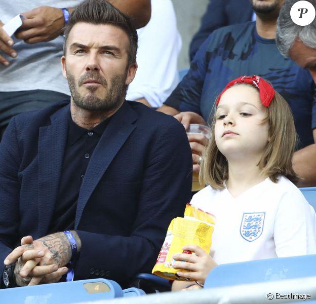 David Beckham et sa fille Harper Seven Beckham - Norvège vs Angleterre (0 - 3) - Quarts de finale- Coupe du Monde Feminine, Le Havre