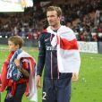 David Beckham et ses enfants Brooklyn, Romeo et Cruz - Le PSG celebre son titre de champion de la ligue a l'issue de son match contre Brest au Parc des Princes a Paris le 18 mai 2013.