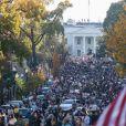 Les habitants de Washington descendent dans la rue pour fêter l'élection de Joe Biden à la présidence des Etats-Unis le 7 novembre 2020