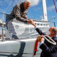 Exclusif - Le prince Albert II de Monaco assiste au départ du maxi-catamaran Amaala Explorer pour l'Expédition OceanoScientific Contaminants Méditerranée 2020 dans la Marina du Yacht Club de Monaco le 15 octobre 2020. © Claudia Albuquerque / Bestimage
