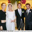 Le prince Emmanuel-Philibert de Savoie, son épouse Clotilde Courau, Johnny Hallday et Laeticia Hallyday - Mariage du prince Emmanuel-Philibert de Savoie et Clotilde Courau en 2003 à Rome.