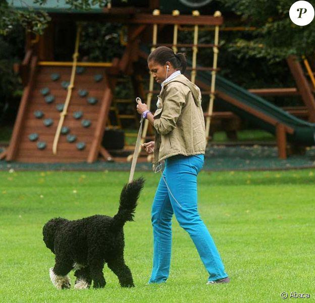 Michelle Obama promène son chien Bo, dans le jardin de la Maison Blanche !