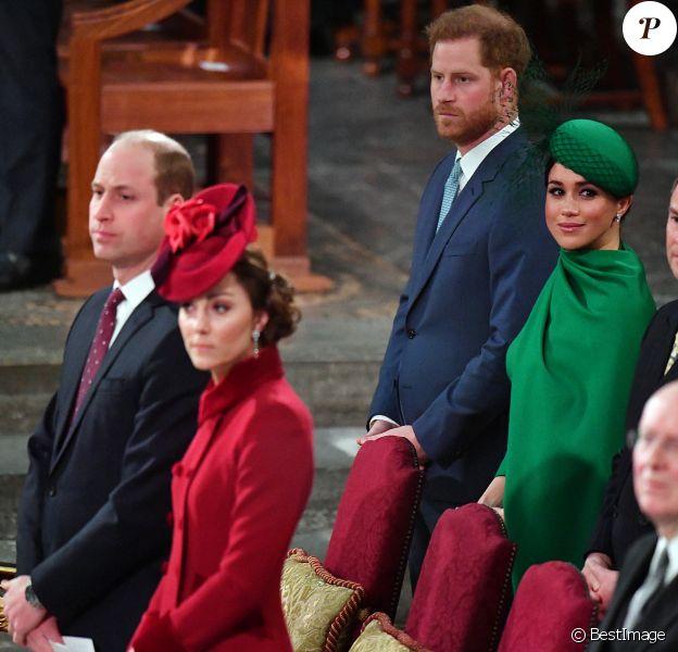 Le prince William, duc de Cambridge, et Catherine (Kate) Middleton, duchesse de Cambridge, Le prince Harry, duc de Sussex, Meghan Markle, duchesse de Sussex - La famille royale d'Angleterre lors de la cérémonie du Commonwealth en l'abbaye de Westminster à Londres.