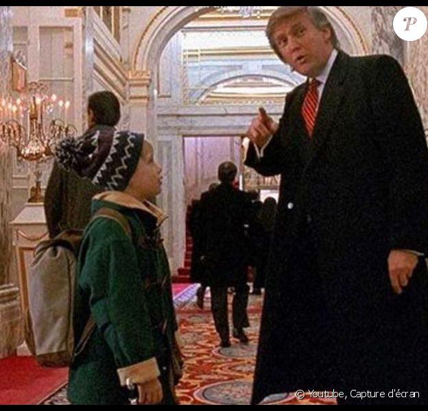 """Capture d'écran tirée du fim """"Maman j'ai encore raté l'avion"""" avec Donald Trump - avant qu'il ne soit président - et Macaulay Culkin."""