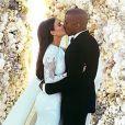 Kim Kardashian et Kanye West lors de leur mariage à Florence, en mai 2014.