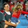 Tom Brady avec sa fille Vivian au Raymond James Stadium à Tampa, le 7 février 2021 pour fêter son septième titre au Super Bowl. Les Buccaneers (avec Tom Brady) ont battu les Chiefs 31-9. Photo by Mark J. Rebilas-USA Today Sports/SPUS/ABACAPRESS.COM