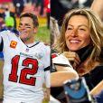 Tom Brady fêtant son septième Super Bowl avec sa femme Gisele Bündchen au Raymond James Stadium à Tampa, le 7 février 2021. Les Buccaneers (avec Tom Brady) ont battu les Chiefs 31-9.