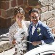 Mariage de Thomas Hollande et de la journaliste Emilie Broussouloux en l'église de Meyssac. Le 8 Septembre 2018. © Patrick Bernard-Guillaume Collet / Bestimage