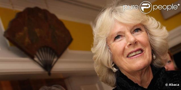 Camilla Parker Bowles décuvre, ravie, une exposition d'éventails, le 20 octobre 2009