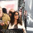 François-Henri Pinault et sa femme Salma Hayek se promènent et font du shopping dans les rues de Beverly Hills. Le 2 août 2019.