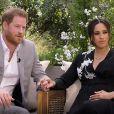 """La chaîne TMC va diffuser l'entretien intitulé """"Meghan & Harry"""" entre le prince Harry, Meghan Markle et la présentatrice américaine Oprah Winfrey. Un échange qui promet son lot de révélations explosives. © Capture TV CBS via Bestimage"""