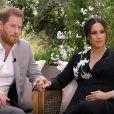 """La chaîne TMC va diffuser l'entretien intitulé """"Meghan & Harry"""" entre le prince Harry, Meghan Markle et la présentatrice américaine Oprah Winfrey, qui sera diffusé le 8 mars. Un échange qui promet son lot de révélations explosives. © Capture TV CBS via Bestimage"""