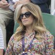 Kim Sears, l'épouse du tennisman Andy Murray, enceinte à Wimbledon le 6 juillet 2019.