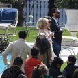 """Jared Leto et Al Pacino tournent une scène en extérieur pour le film """"House of Gucci"""" (Gucci) à la villa Balbiano sur le Lac de Côme le 17 mars 2021."""