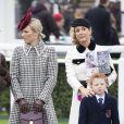 La princesse Anne d'Angleterre, Zara Tindall, Chanelle McCoy - La famille royale lors des courses de chevaux du festival de Cheltenham le 11 mars 2020.