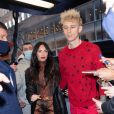 Exclusif - Machine Gun Kelly et sa compagne Megan Fox se rendent à l'émission SNL à New York le 30 janvier 2021.