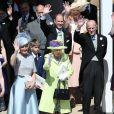 La reine Elisabeth II d'Angleterre, Le prince Philip, duc d'Edimbourg, Le prince Edward, comte de Wessex, Sophie Rhys-Jones, comtesse de Wessex, James Viscount Severn, Lady Louise Windsor, La princesse Anne, Le prince Michael de Kent et La princesse Michael de Kent - Les invités à la sortie de la chapelle St. George au château de Windsor, Royaume Uni, le 19 mai 2018.