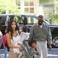 Kim Kardashian est allée assister avec ses enfants Saint West, N. West et Chicago West à la messe dominicale de son mari Kanye West à New York, le 29 septembre 2019