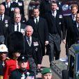 Le prince Charles, prince de Galles, le prince Andrew, duc d'York, le prince William, duc de Cambridge, David Armstrong-Jones, comte de Snowdon, Peter Phillips, la princesse Anne, le prince Edward, comte de Wessex, le prince Harry, duc de Sussex, Sir Timothy Laurence - Arrivées aux funérailles du prince Philip, duc d'Edimbourg à la chapelle Saint-Georges du château de Windsor, , Royaume Uni, le 17 avril 2021.