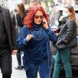 """Exclusif - Salma Hayek, transformée pour incarner le personnage de Pina Auriemma, sur le tournage du film """"House of Gucci"""" de Ridley Scott. Rome, le 23 avril 2021."""