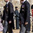 Le prince Harry, duc de Sussex, le prince William, duc de Cambridge - Arrivées aux funérailles du prince Philip, duc d'Edimbourg à la chapelle Saint-Georges du château de Windsor, le 17 avril 2021.