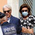 Bernard Tapie et sa femme Dominique Tapie - Mariage civil de Sophie Tapie et Jean-Mathieu Marinetti à la mairie de Saint-Tropez