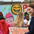 Le prince William, duc de Cambridge, et Catherine (Kate) Middleton, duchesse de Cambridge, lors d'une séance de santé mentale et de bien-être lors d'une visite à The Way Youth Zone à Wolverhampton, Royaume Uni, le 13 mai 2021.