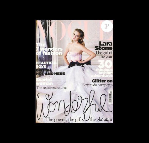 Lara Stone pour le Vogue Uk du mois de décembre