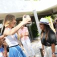 Amandine Petit, Miss France 2021, Ines Reg et Sylvie Tellier au village lors des Internationaux de France de Tennis de Roland Garros à Paris. Le 10 juin 2021 © Dominique Jacovides / Bestimage
