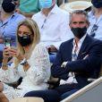 Jean-Claude Blanc et sa femme dans les tribunes des Internationaux de France de Roland Garros à Paris le 11 juin 2021. © Dominique Jacovides / Bestimage