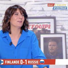 Estelle Denis se moque du look de Raymond Domenech en direct sur la chaîne L'Équipe