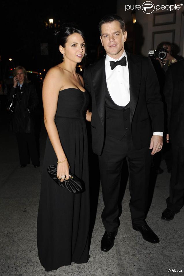 Matt Damon et sa femme Luciana, à l'occasion de la soirée hommage à Clint Eastwood, qui s'est tenue au Museum of the Moving Image de New York, le 1er décembre 2009.