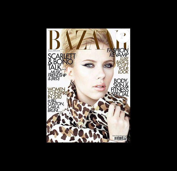 Scarlett Johansson en couverture d'Harper's Bazaar