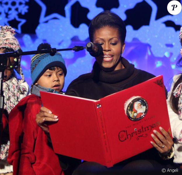 Michelle Obama aux illuminations de Noël de la Maison Blanche le 3 décembre 2009