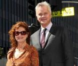 Susan Sarandon avec Tim Robbins sur Hollywood Blvd, en octobre 2008