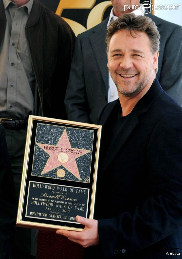 Russell Crowe, à l'occasion de l'inauguration de son étoile sur Hollywood Boulevard, à Los Angeles, le 12 avril 2010.