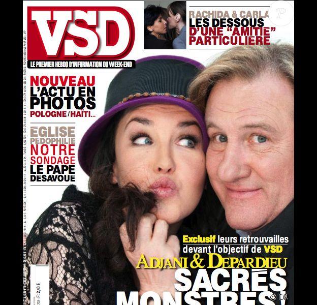 Isabelle Adjani et Gérard Depardieu en couverture de VSD