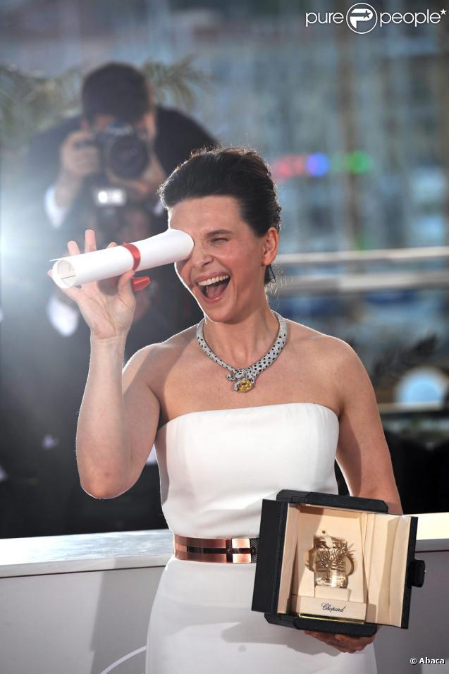 Juliette Binoche et son prix d'interprétation à Cannes en 2010