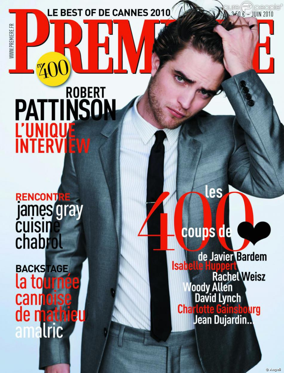 robert pattinson en couverture du magazine premi re num ro 400. Black Bedroom Furniture Sets. Home Design Ideas