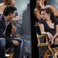 Le casting de Twilight sur le plateau du Jimmy Kimmel Live le 15 juin 2010 : sur la photo, Taylor Lautner et Kristen Stewart