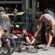 Joseph Gordon-Levitt sur le tournage de Premium Rush