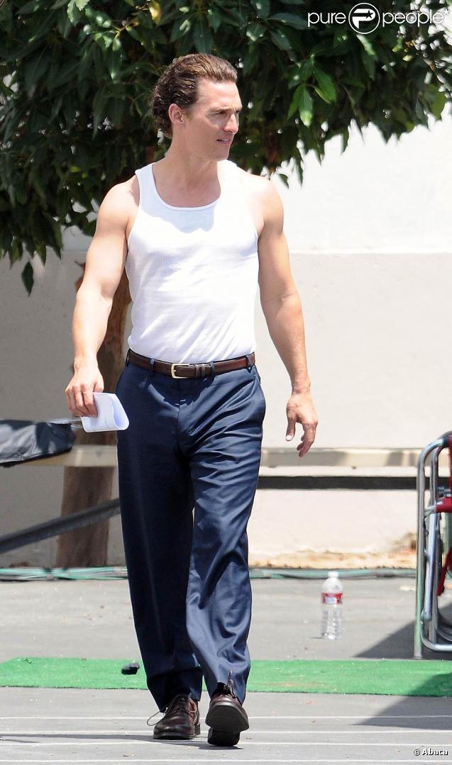 Matthew McConaughey sur le tournage de  La défense Lincoln , à Los Angeles, le 11 août 2010.