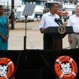 Barack Obama participe à une réunion, en compagnie de son épouse Michelle, avec le maire de Panama City le 14 août 2010