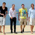Camille Lacourt (T-Shirt noir), Fred Bousquet (chemise blanche), William Meynard (T-Shirt... funky), Fabien Gilot (chemise bleue) : 4 garçons dans le vent au CNM, le 18 août 2010, en marge d'une conférence de presse.