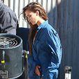 Jessica Alba l'air contrarié lors d'un shooting à Los Angeles, le 20/08/10