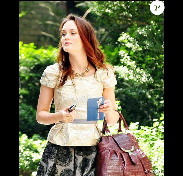 Leighton Meester sur le plateau de tournage de Gossip Girl, le 2 septembre 2010