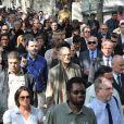 Christophe Barratier, Jacques Toubon, François Cluzet, Christophe Girard... lors des obsèques d'Alain Corneau, au cimetière du Père Lachaise, à Paris, le 4 septembre 2010.