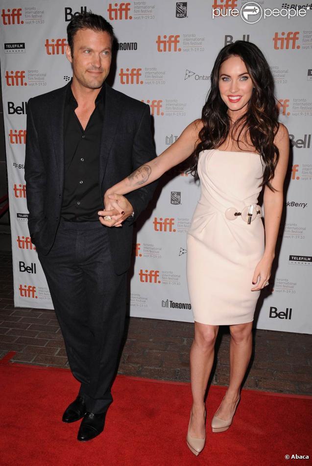 Megan Fox et son mari Brian Austin Green lors du Festival International du Film de Toronto à l'occasion de la présentation du film  Passion Play,  le 10 septembre 2010