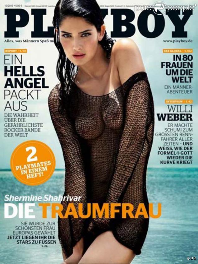 Le mannequin allemand Shermine Shahrivar, Miss Europe 2005, en couverture du Playboy allemand, édition octobre 2010.