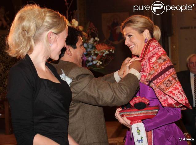 """Maxima des Pays-Bas participait, le 14 octobre 2010 à La Haye, à une soirée consacrée aux Andes, """"A journey through the Andes""""."""